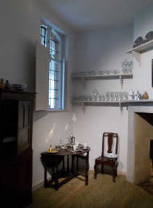 The chocolate preparation room with its display of elaborate porcelain and silverware