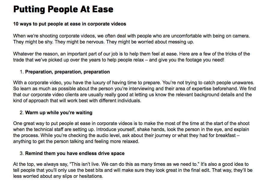 Blog on putting people at ease on camera, used when writing blogs for Clean Cut Media