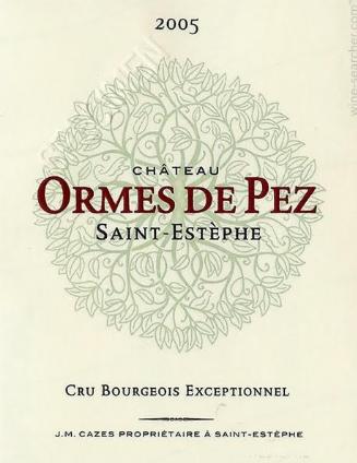 Label of Ormes de Pez wine from Bordeaux