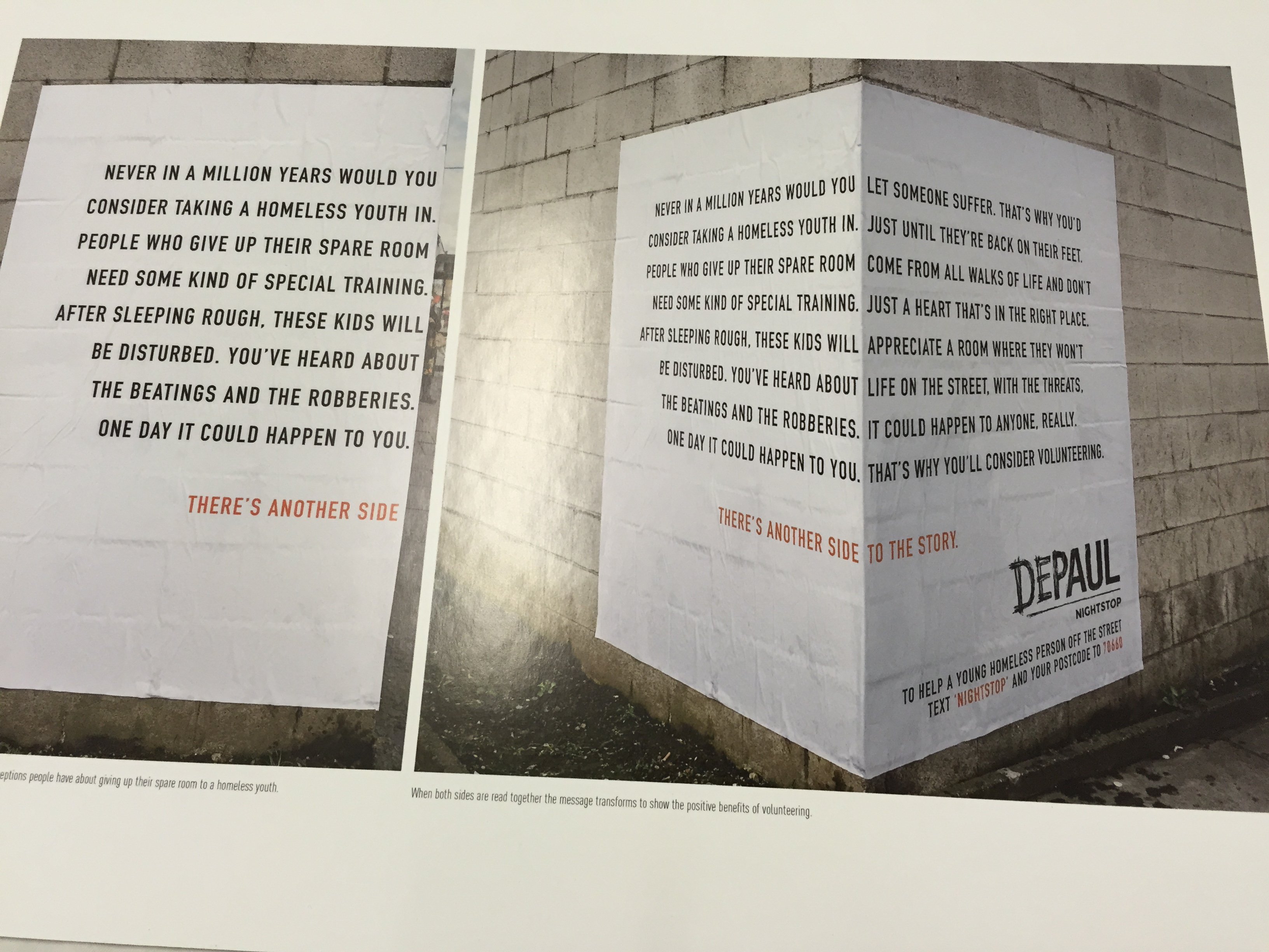 See two sides to homelessness with this poster for Depaul