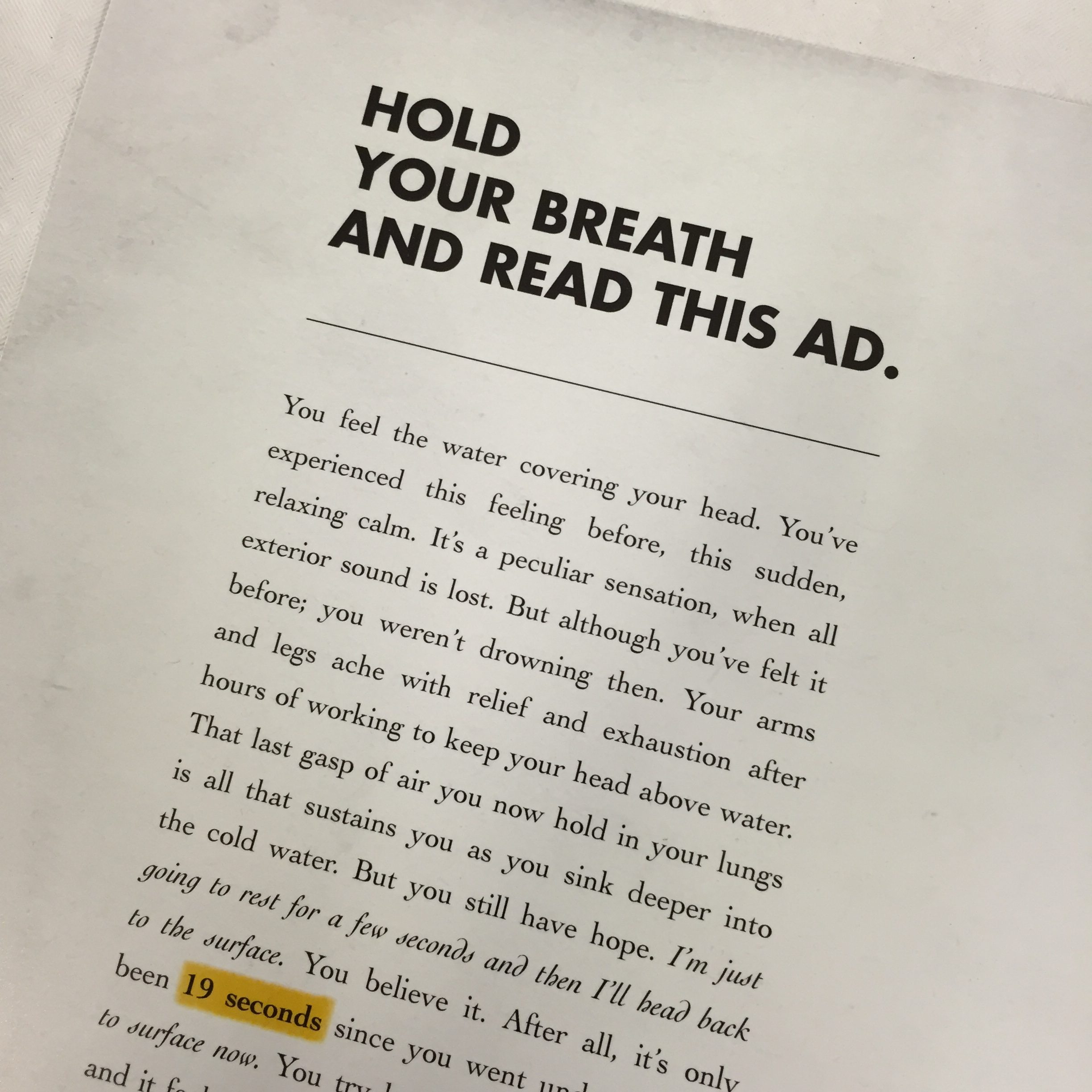 It takes 87 seconds to drown. The same time it takes to read this ad.