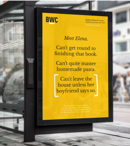 Powerful poster for Brighton Women's Centre that won a D&AD Writing for Design award in 2018