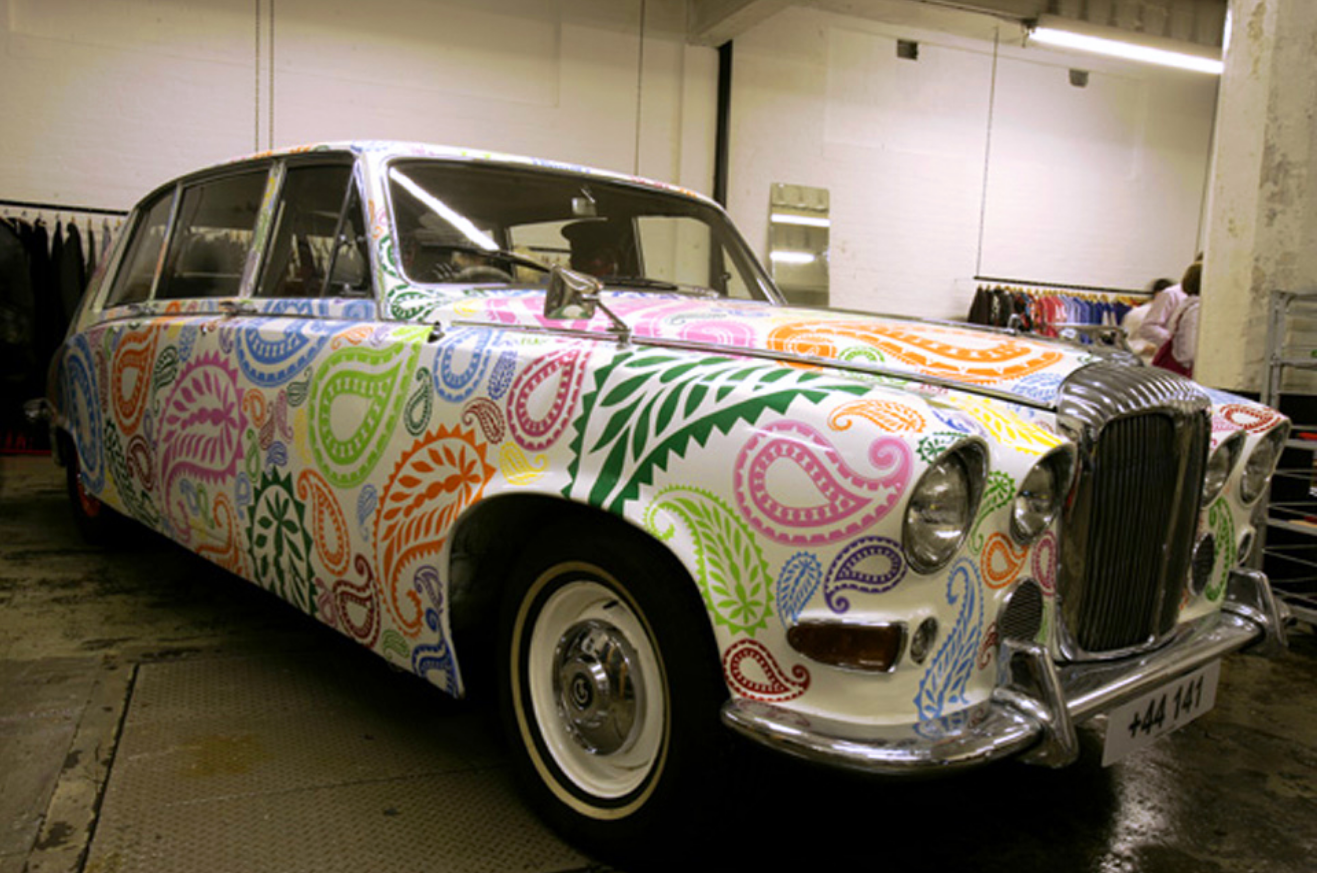 A Paisley-covered Daimler in a Glasgow Comme des Garcons store