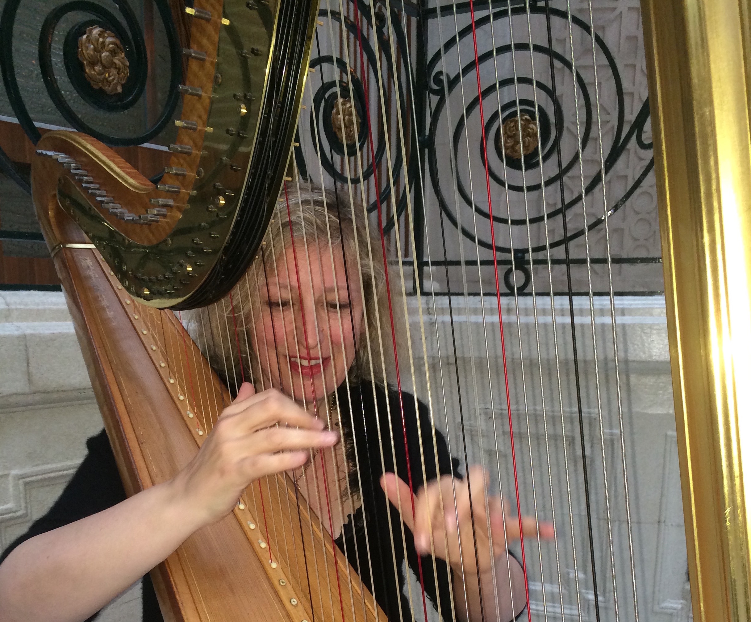 Writer and harpist Fiona Thompson playing the harp