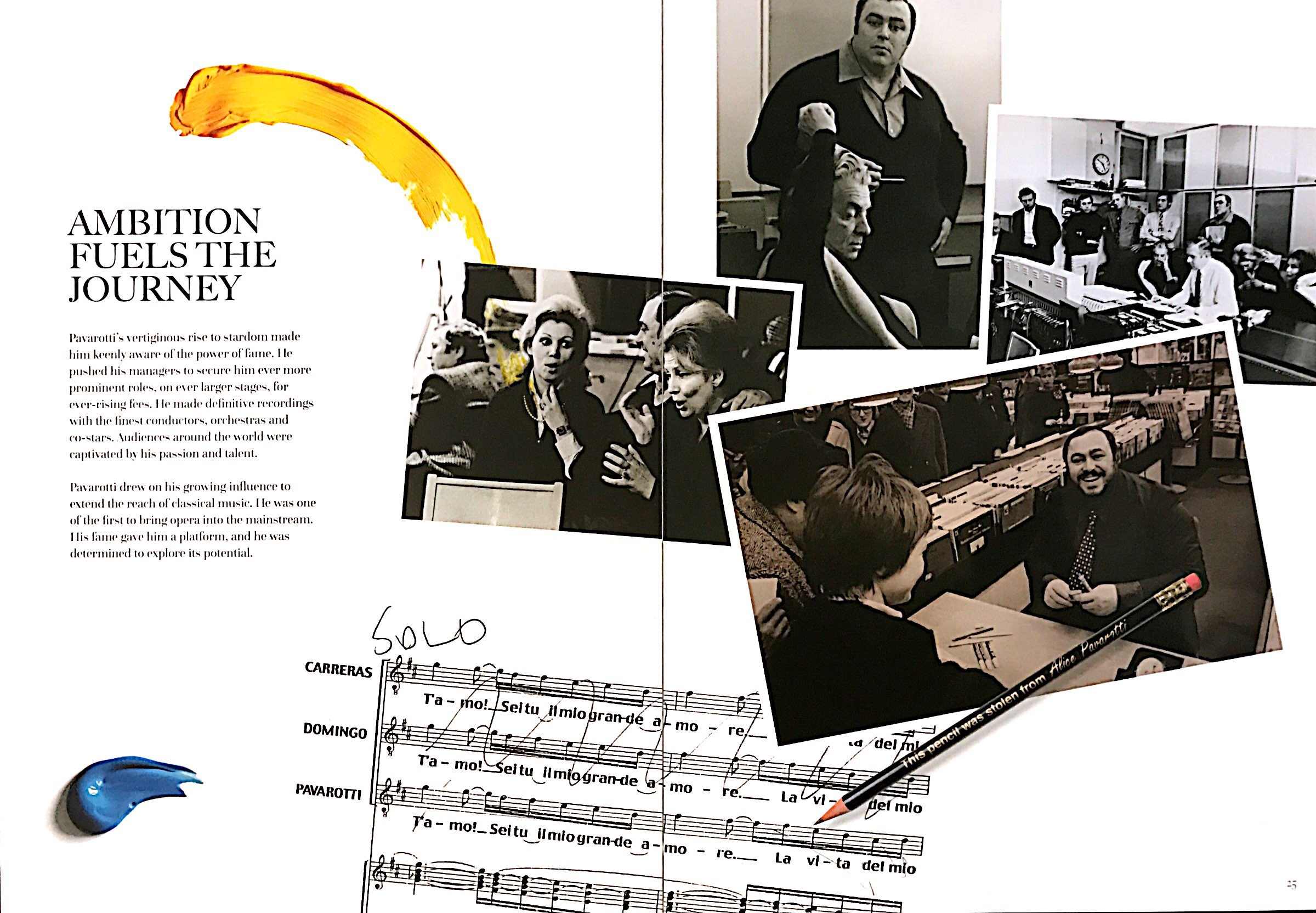 A musical score annotated by Luciano Pavarotti