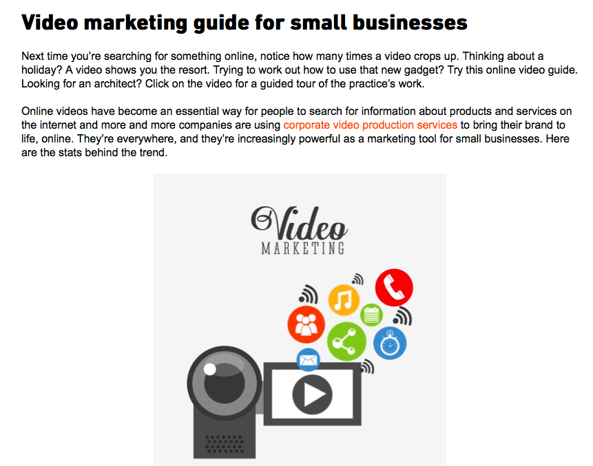 Blog on video marketing guide for small businesses, part of a project writing blogs for Clean Cut Media