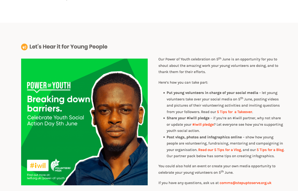 Web content for #iwill Youth Social Action Day