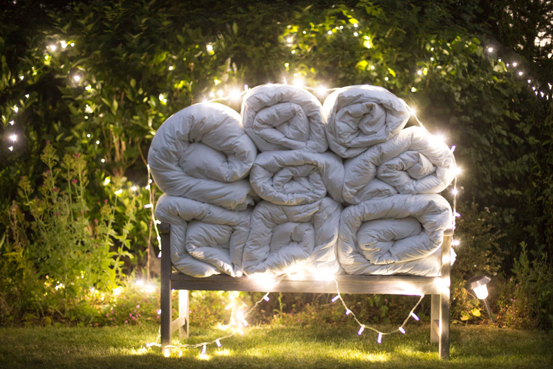 a pile of duvets