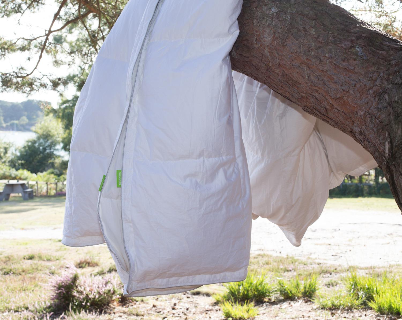 a duvet draped over a tree