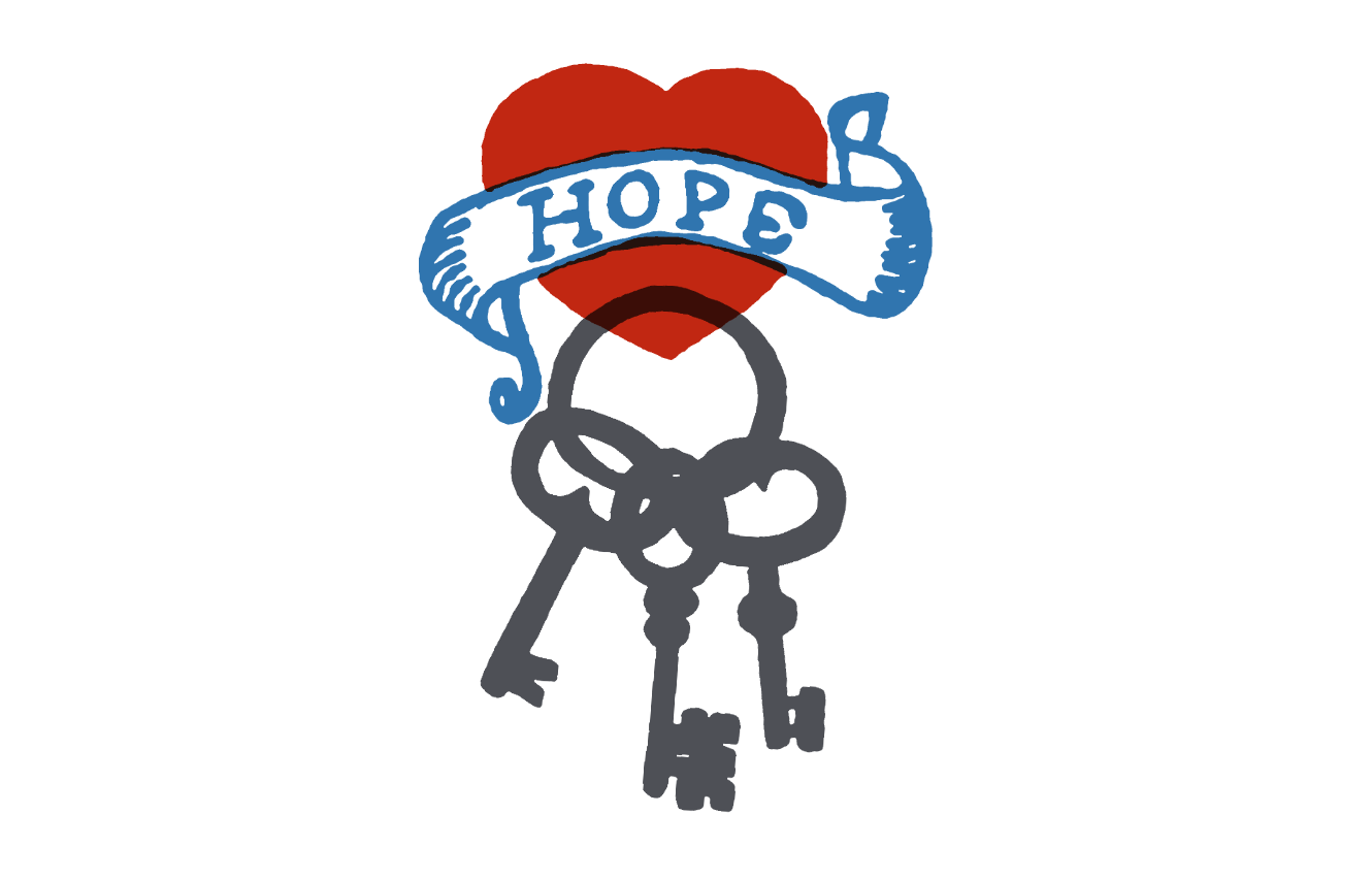 tattoo style image of a red heart, hope banner and keys